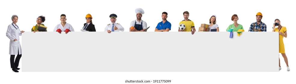 Group of diverse professionals holding blank banner ad isolated on white background