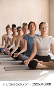 Group of diverse young attractive people practicing yoga, doing Easy Sukhasana pose, working out indoor, mixed race female students meditating at sport club, yoga studio. Well being, wellness concept