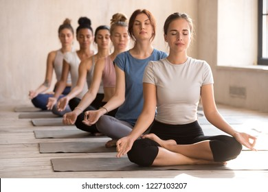 Group of diverse young people practicing yoga, doing Easy Seat exercise, Sukhasana pose, working out indoor full length, female students meditating at club or yoga studio. Well being, wellness concept