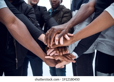 group of diverse young people showing their unity