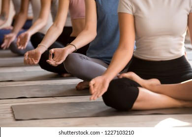 Group of diverse young yogi people meditating, Easy Seat exercise, doing yoga Sukhasana pose, working out indoor close up, female students training at club or yoga studio. Well being, wellness concept