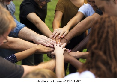Group of diversity people hands stack support together