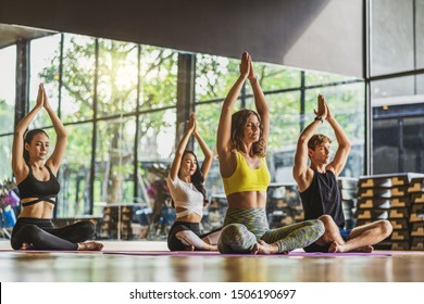 Group of diversity practicing yoga class, healthy or Meditation Exercise,stretching in upward facing dog exercise, wearing sportswear bra and pants, sports and healthcare concept,