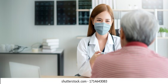 group of doctor and nurse wear protection mask checking and takecare infection people from covid-19 pandemic spread in clinic hospital background
