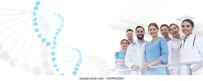 Group of doctors in clinic and DNA formula, space for text. Medical service