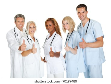 Group of doctors giving thumbs up sign isolated over white background