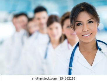 Group of doctors at the hospital smiling