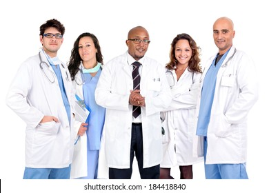 Group of doctors isolated against a white background