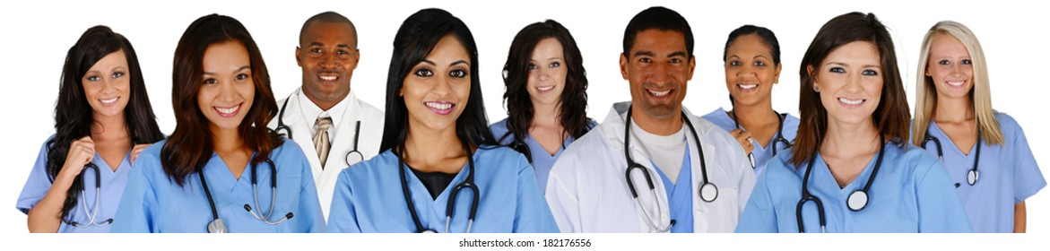 Group of doctors and nurses set on a white background
