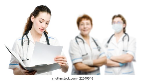 group of doctors on the white background
