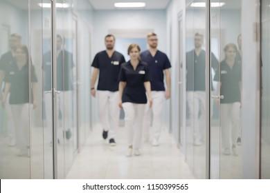 group of doctors posing in hospital / concept modern medical clinic, doctor's work, medical uniform, medical team