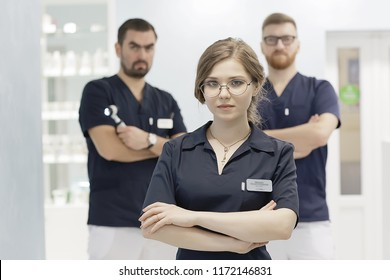 group of doctors posing in hospital / concept modern medical clinic, doctor's work, medical uniform, medical team