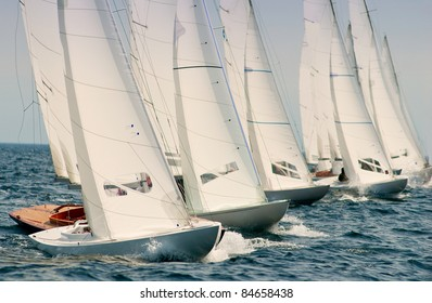 group of dragon yachts at regatta