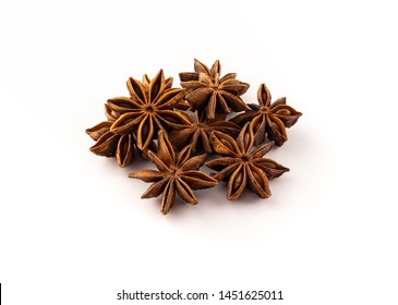 group of dried star anise on white background