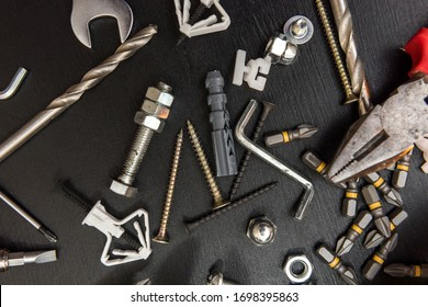 group of drill bits, screws, screwdriver bit bits and hexagon wrench for repair