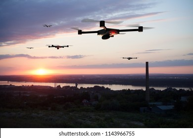 group of drones approaching the city