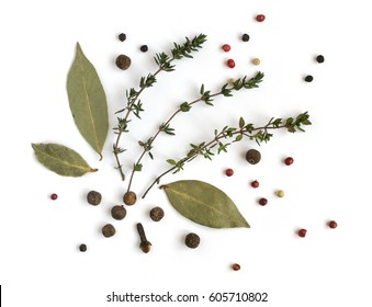 Group of Dry Spices with Thyme and Black Pepper Isolated on White Background Top View