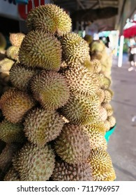 Group of durian in the market