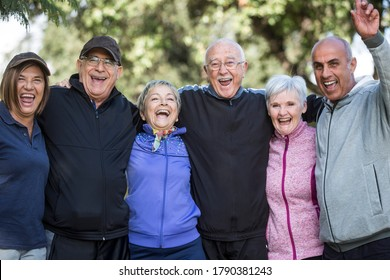 group of elderly friends embraced having fun and enjoying life in a park