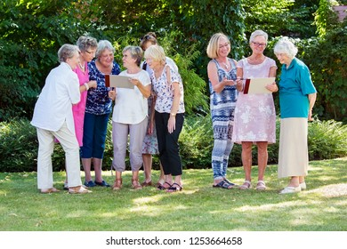 Group of elderly ladies at a care home enjoying a stimulating creative art class outdoors in a garden or park painting on wooden easels.