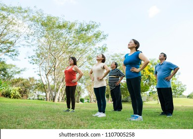 Group of elderly people doing breathing exercise