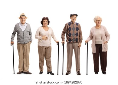 Group of elderly people posing isolated on white background