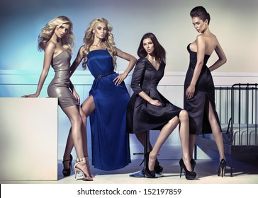 Group of elegant women