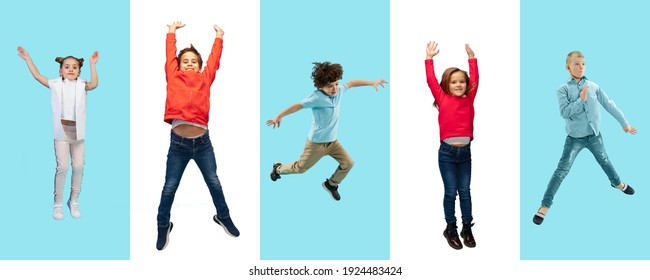 Group of elementary school kids or pupils jumping in colorful casual clothes on bicolored studio background. Creative collage. Back to school, education, childhood concept. Cheerful girls and boys.