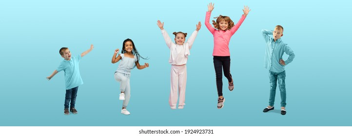 Group of elementary school kids or pupils jumping in colorful casual clothes on blue studio background. Creative collage. Back to school, education, childhood concept. Cheerful girls and boys.