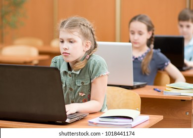 Group of elementary school kids working in computer class