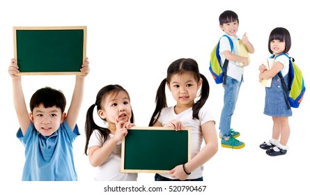 Group of elementary students on white background