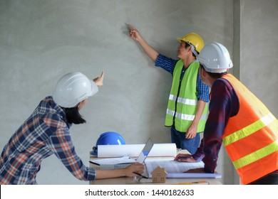 Group of engineer or worker meeting, discuss and report about building and resident inspection