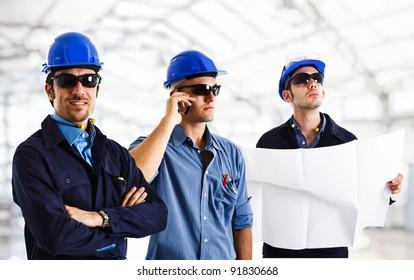 Group of engineers at work