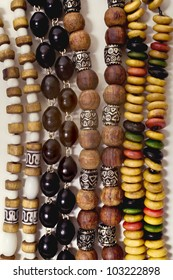 group of Ethnic esoteric beads closeup