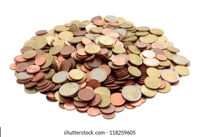group of European currencies piled up trimmed and isolated