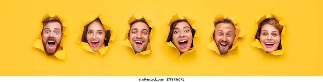 Gruppe aufgeregter, urkomischer Jugendlicher mit verblüffenden Gesichtern, die durch zerrissene Löcher in hellgelbem Papier schauen