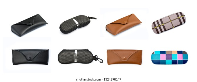 Group of eye glasses boxs on a white background.