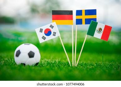 Group F - National Flags of Germany, Mexico, Sweden, Korea Republic, South Korea
