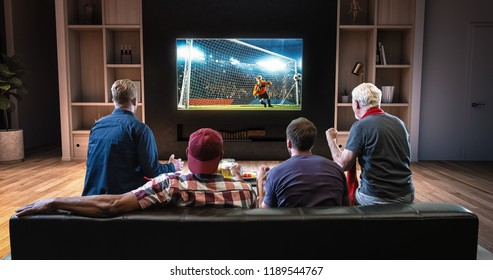Group of fans are watching a soccer moment on the TV and celebrating a goal, sitting on the couch in the living room. The living room is made in 3D.