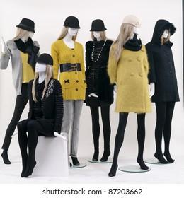 Group of fashion on window model white background