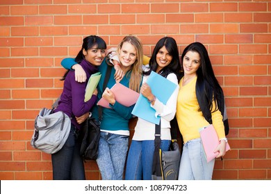 group of female college friends portrait