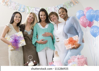 Group of female friends at baby shower party