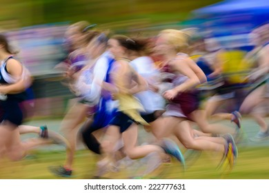 Group of female high school athletes running a cross country race.