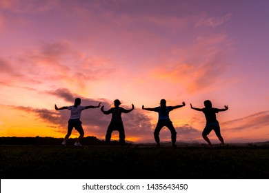 Group of female people practicing traditional Tai Chi Chuan, Tai Ji and Qi Gong for fighting match together in the park on sunset background, traditional chinese martial arts concept.