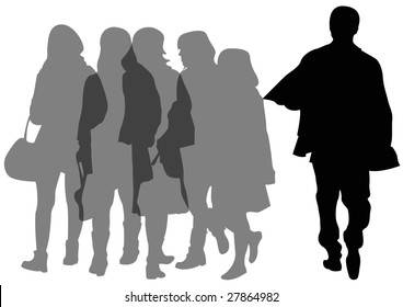 group of female shoppers and one male shopper