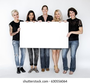 Group of Female Show Present Blank Board