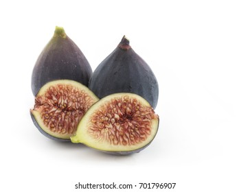 group of ficus carica common fig from the mulberry family, whole and sliced isolated on a white background