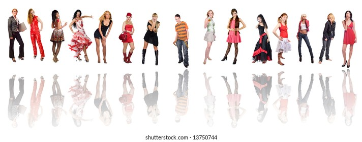 Group of fifteen different dressed women isolated on white