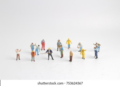 the group of  figure of Blue collar worker