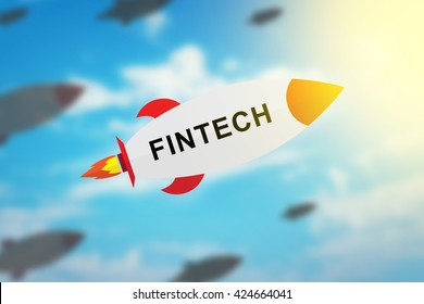group of fintech or financial technology flat design rocket with blurred background and soft light effect